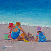 Beach Painting 'Building Sandcastles' by Jan Matson