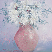 White Chrysanthemums in a bowl, flower oil painting by Jan Matson