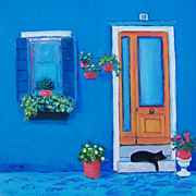 Street Scene, 'Black Cat on a Doorstep', oil painting by Jan Matson