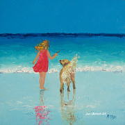 Beach Painting with child and golden retriever, by Jan Matson