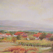 Landscape Oil Painting near Split, Croatia, Dalmatian Coast by Jan Matson