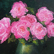 Pink Roses Flower Painting, original oil by Jan Matson