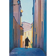 SALE Volterra, Tuscany Street Scene, original oil painting by Jan Matson