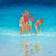 Beach Decor, 'A Gaggle of Girls', original oil beach painting by Jan Matson