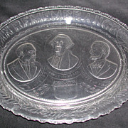 Pressed Glass Platter In Remembrance 1880s