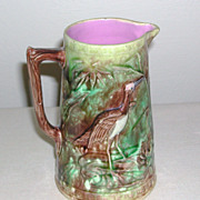 Victorian Majolica Pitcher Heron Birds marked late 1800s