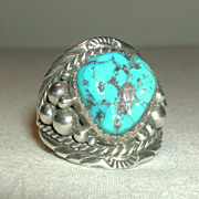 Vintage Sterling Large Mens Unisex Blue Turquoise Nugget Navajo Ring signed EB Eugene Belone