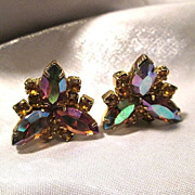 Vintage Watermelon Marquise Rhinestone with Honey Chaton Clip Earrings