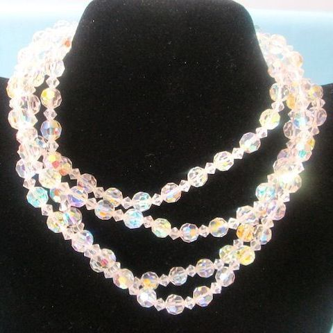 "Vintage Brilliant 54"" Long Rainbow Faceted Crystal Necklace"