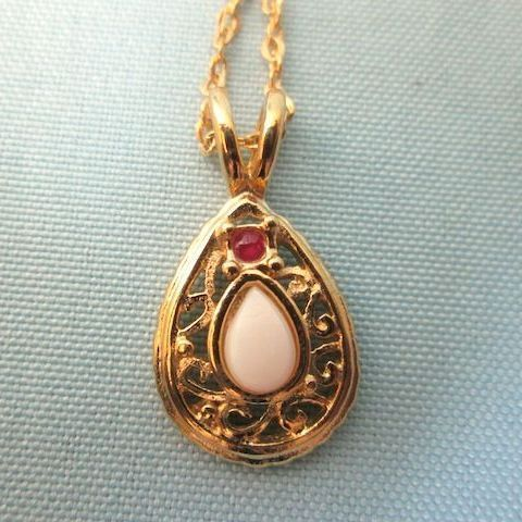 Vintage Opal and Ruby Pendant Necklace - 1980-90