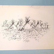 2 Signed Sketch Prints by Bob Edgar (1939-2012) Founder of Trail Town in Cody ...
