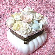 Beautiful Vintage Lenwile Verithin China Trinket Box - Japan