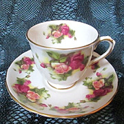 Old Royal Chelsea Golden Rose Demitasse Footed Cup & Saucer