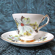 Crown Prince Bone China England Dogwood Flower Cup & Saucer