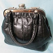 "Vintage ""Saber"" Black Leather Handbag By Ruth Saltz ~ 1960s"