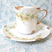 Antique Theodore Haviland Limoges, France Demitasse Cup & Saucer 1903