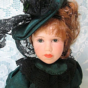 Hand Painted Victorian Styled Miniature Porcelain Doll