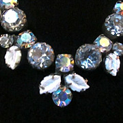 REDUCED Sold As Is ~ Vintage REGENCY Ice Blue Crystal Rhinestone Choker Necklace -  1960s
