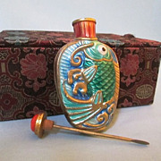 Boxed Chinese Gilt Metal and Enamel Fish Snuff Bottle