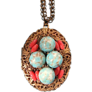Miriam Haskell Baby Blue Stone Locket Necklace circa 1950s