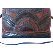 Classic VARON 1960s-70s Genuine Snake/Lizard Skin Clutch with Shoulder Strap