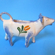 Desvres France Gabriel Fourmaintraux Hand Painted Cow Creamer