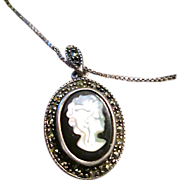 REDUCED .925 Silver Overlay Genuine Marcasite and Black Onyx Cameo Shell Pendant Necklace