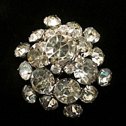 Huge Vintage Multi-Faceted AB Clear Stone Fabulous Bold Brooch