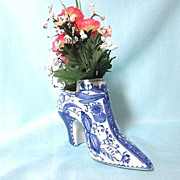 Vintage Hand-Painted Blue & White Pottery Vase Shoe/Boot - Baum Bros
