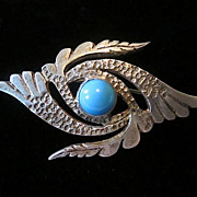Old 800 Silver Four Point Pin with Faux Turquoise Cabochon and C-Hook Clasp