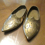 Miniature Pair of Brass Etched Shoe Slippers -  Made in India