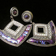 1984 NEO-DECO Post Earrings with Clear Rhinestone Imitation MOP Inlay