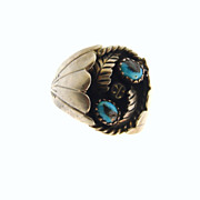 SOLD Mens Native American Signed JCT Sterling Turquoise Ring Size 9.5 Vintage Southwest