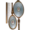 Apollo Studios Ormolu Dresser Vanity Set with Guilloche Medallion