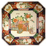 19th Century Square Imari Plate with Dog and Butterfly Decoration