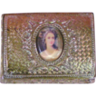 Vintage Metal Trinket Box with Portrait