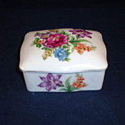 Vintage Bone China Trinket Box with Floral Decoration