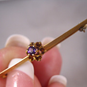 REDUCED Edwardian 14K Amethyst Bar Pin