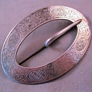 REDUCED Victorian Silver Plated Sash Buckle Pin Brooch Signed C & R