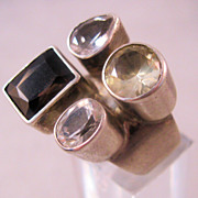 REDUCED Estate Genuine Smokey Quartz Citrine White Sapphire Gemstone Sterling Ring Size 7
