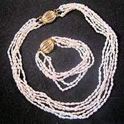 REDUCED 1970s Fresh Water Pearl Multi 6 Strand Necklace & Bracelet Set
