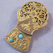 REDUCED Edwardian Persian Turquoise & Gold Filled Brooch Hand Tooled Pocket Watch Mechanism Pi