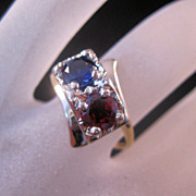REDUCED 1940s 14K Blue Sapphire & Garnet Ring 1.2 carats Yellow/White Gold Size 6 1/2
