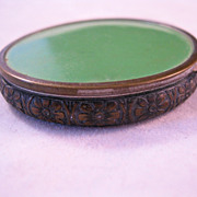 1930s F J Co Compact Powder Blush Make up Green Enameled & Embossed Brass