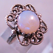 REDUCED Vintage White Opal Sterling Ring Filigree Size 5 1/2