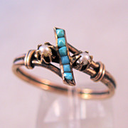 REDUCED 1800s Victorian 10K Rose Gold Persian Turquoise Seed Pearl Ring Size 10