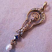 REDUCED Victorian 10K Lavaliere Pendant Sapphire Diamond Seed Pearls