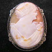 Edwardian Cameo Brooch Large Sterling Bezel Antique