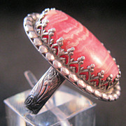 Edwardian Ring Jasper Sterling Filigree Engraved Band Size 6