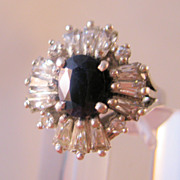 Estate Genuine Black Sapphire CZ Filigree Sterling Ring Size 8